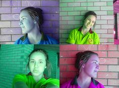 This is my rodchenko   I took at least four photos of Emily from different angles/sides. I opened them up into photo shop, changed the hue and saturation until i was happy with the different colours. I placed them all onto one.   This is my final product