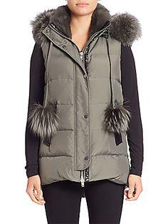 Nicole Benisti Rabbit & Fox Fur-Trim Down Vest
