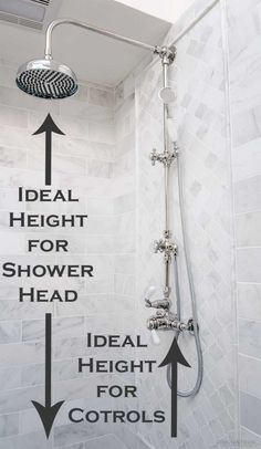Learn the need-to-know measurements for a bathroom including how high to hang the shower head Upstairs Bathrooms, Laundry In Bathroom, Chic Bathrooms, Bathroom Vanities, Master Bathroom, Laundry Rooms, Small Bathroom, Shower Niche, Master Bath Remodel