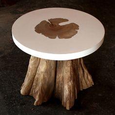 "Fab.com --  Round Side Table 17.75""X17""  --  Sandblasted cedar stump with soy & peanut resin top  $2115"