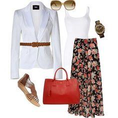 Look primavera: saia longa estampada + blazer branco