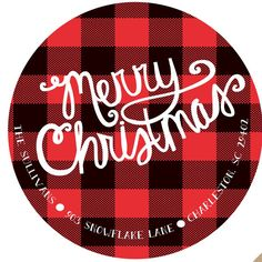 Round Christmas Stickers Labels buffalo plaid by stickerchic