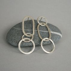 Asymmetrical Silver Chain Earrings by metalchick on Etsy,
