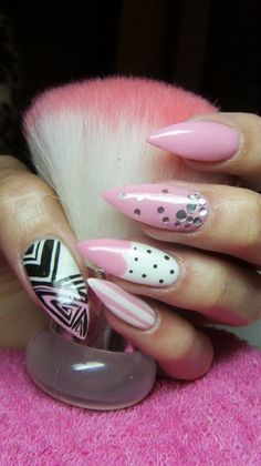 Pink and white stiletto nails by Valkira - Nail Art Gallery nailartgallery.nailsmag.com by Nails Magazine www.nailsmag.com #nailart