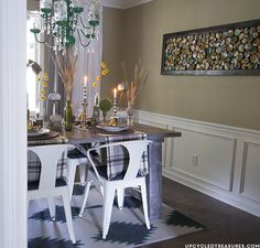 Modern Rustic Dining Room and can you believe that rug is PAINTED? | UpcycledTreasures.com #modernrustic #fall