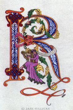 'illuminated_letter' celtic R harp fonts calligraphy Celtic R  ©Jane SullivanCeltic R©
