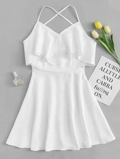 Shop Criss Cross Back Tiered Dress at ROMWE, discover more fashion styles online. Cute Girl Outfits, Cute Summer Outfits, Cute Casual Outfits, Pretty Outfits, Pretty Dresses, Stylish Outfits, Casual Summer, Summer Dresses, Girls Fashion Clothes