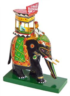 King Sitting on Royal Elephant with Mahut - Kondapalli Doll  (Wood)