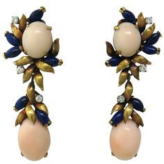 Coral Lapis Diamond Gold Drop Earrings | From a unique collection of vintage drop earrings at https://www.1stdibs.com/jewelry/earrings/drop-earrings/