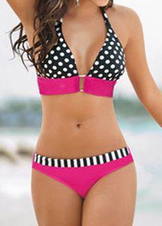 Polka Dot Print Halter Neck Bikini