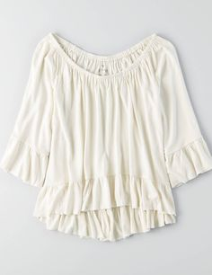 AEO Soft & Sexy Ruffle T-Shirt , Blue   American Eagle Outfitters