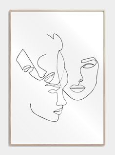 Three faces in one line plakat design_plakater_med_one_lin. - Three faces in one line plakat - Abstract Face Art, Abstract Drawings, Art Drawings, Simple Drawings, Face Line Drawing, Drawing Faces, Single Line Drawing, Art Faces, Drawing Hair