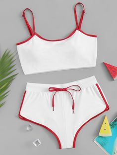 Shop Contrast Trim Top With Lace Up High Leg Bikini Set online. SHEIN offers Contrast Trim Top With Lace Up High Leg Bikini Set & more to fit your fashionable needs. Bikini Outfits, Bikini Ready, High Leg Bikini, Short Models, Cute Bathing Suits, Beachwear For Women, Ideias Fashion, Cool Outfits, Swimsuits