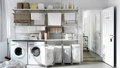 Laundry room furnished with wall shelves, racks and storage bags on castors