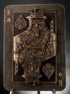 "Steampunk king of spades. Cardboard. 15 x 20"" by Lance Oscarson"