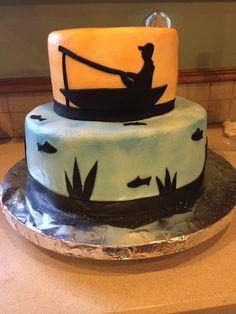 Fisherman cake Fish Cake Birthday, Themed Birthday Cakes, 80th Birthday, Themed Cakes, Cake Pics, Cake Pictures, Retirement Cakes, Retirement Parties, Fisherman Cake