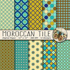 Moroccan Tile Digital Paper  This digital download includes 10 high resolution Moroccan Digital Paper patterns in Turquoise, Brown and Green. The size of these elegant Moroccan Tile Digital Papers is 12x12 at 300 DPI... they can be sized to fit whatever project you need them for.  INSTANT DOWNLOAD via ETSY Moroccan Tile Digital Paper Printable Digital paper pack 16 images 12 x 12 inch large (4 zipped folders) JPEG format @ 300 dpi resolution  These are digital images and you will receive…