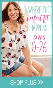 Where the perfect fit happens. Sizes 0-26. Shop plus.