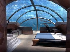 okay seriously?  An underwater bedroom......this it located at Poseidon Undersea Resort in Fiji.....I'm there!!!  So cool!