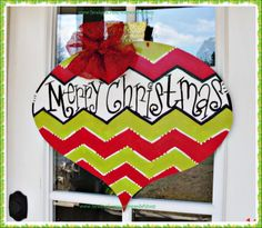 Christmas Ornament Wood Cut Out Door Hanger by TheWaywardWhimsy, $35.00