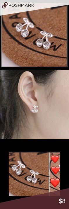 Cherry 🍒 Crystal Stud Earrings - NIP Cherry 🍒 Crystal Stud Earrings - NIP Jewelry Earrings