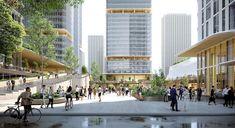 Futuristic Architecture, Architecture Design, Plaza Design, Office Entrance, Public Realm, Ningbo, Serviced Apartments, Fantasy Landscape, Ground Floor