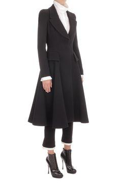 Black Crepe Wool Riding Coat- Alexander McQueen