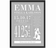 Poster namntavla doptavla present till födelsedag namngivning kalas nyfödd baby nyblivna föräldrar, elefanter dekor till barnrummet, dröm stort vår lilla tjej, grå vit