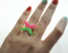 Cute Mini Mustache Cocktail Ring - Rings - Jewelry Free shipping