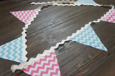 Pink and aqua chevron bunting 6 feet by FancyfullThings on Etsy, $8.00
