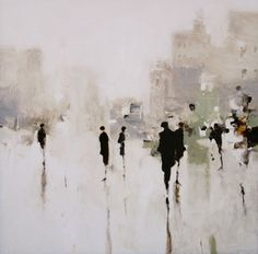 """Geoffrey Johnson's human figures fade into almost transparent urban scapes. His paintings """"successfully capture the alluring space between abstraction and realism"""". Since he has no website, you can find his works online at TransparentCities, PrincipalGallery and HubertGallery."""