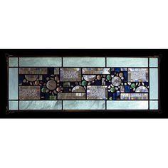 Edel Byrne Sea Green Opalescent Border Geometric Stained Glass Panel, Artistic Artisan Designer Window Panels