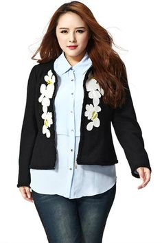 JEDD3009 Plus Size Collarless Jacket - DEBE Beautic