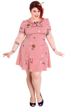 6b5285e364f9f Hell Bunny Plus Nautical Dream Sailor Pin-up Sail Away Striped Nautical  Mini Dress Vintage