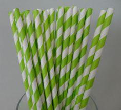 Lime Green Stripe Paper Straws