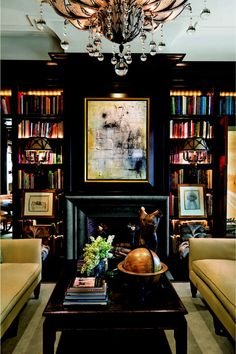 Bookshelves - black with glowy lights