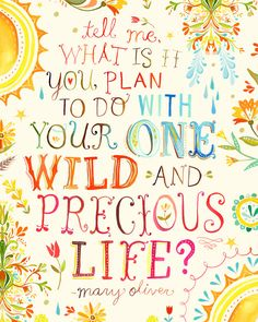 These words by Mary Oliver might be the most important question you ask yourself today :: Wild And Precious Life card by Katie Daisy