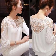 shirt embroidery Picture - More Detailed Picture about 2015 New Summer Plus Size Blouse Women Casual Chiffon Lace Blouse Loose Stitching Lace Long Sleeve Ladies Shirt Blusas Picture in Blouses & Shirts from ShejoinSheenjoy Bodycon Store Top Fashion, Fashion Women, Street Fashion, Mode Inspiration, Lace Tops, The Dress, Blouse Designs, Blouses For Women, Cheap Blouses