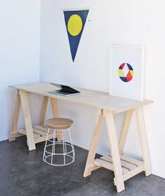 Trestle Desk with Shelves. www.companyandthings.com