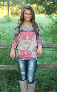 The Pink Lily Boutique - Aztec Cowl Neck Blouse, $38.00 (http://www.thepinklilyboutique.com/aztec-cowl-neck-blouse/)