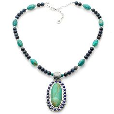 Barse Turquoise and Lapis Pendant with Multistone Chain