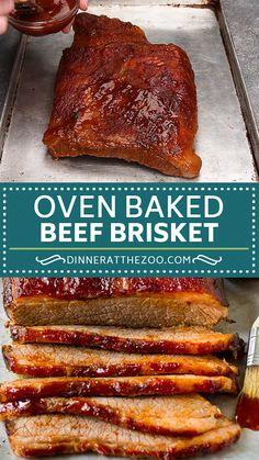 The best oven baked beef brisket coated in seasonings and BBQ sauce. Best Brisket Recipe, Best Beef Recipes, Meat Recipes, Cooking Recipes, Smoked Brisket Recipes, Best Brisket Rub, Dry Rub Recipes, Cooking Eggs, Smoked Beef Brisket