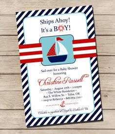 PRINTABLE  Sailboat Baby Shower Invitation   by UrbanFrontiers, $12.00 Nautical Party Favors, Nautical Invitations, Baby Shower Invitations, Invites, Baby Shower Cards, Baby Cards, Baby Boy Shower, Sailing Party, Call My Mom