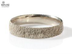 14k white Gold ring, men's Textured wedding band, tree bark texture ,women's single band ,Woodgrain Handmade design, textured wedding band