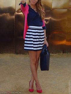 pink blazer navy blue blouse navy blue sailor striped skirt navy blue handbag pink suede heels love!