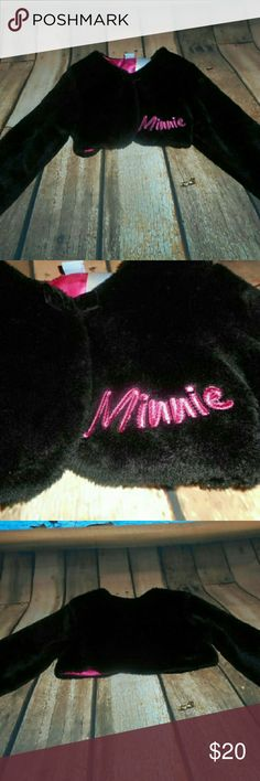 Disney Minnie Mouse Faux Fur Crop Jacket This little jacket is too cute! It measures approximately 8 inches from the back of the collar down the back of the jacket. Disney Jackets & Coats