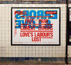 """Paula Scher, poster for public theater. """"illustrating with type""""."""