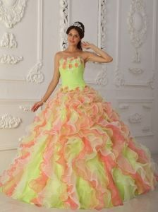 Romantic Multi-Color Quinceanera Dress  Strapless Organza Hand Flowers and Ruffles Ball Gown