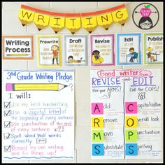 Writing Workshop We love the Teacher Trap's writing wall! You can get her Writing Workshop resource that includes these writing process printable posters, detailed lesson plans, conference guide, planner, rubrics and more {grades Writing Posters, Writing Anchor Charts, Teacher Posters, Writing Lessons, Teaching Writing, Writing Ideas, Writing Rubrics, Paragraph Writing, Opinion Writing