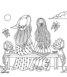 Girls sitting on a bench coloring page